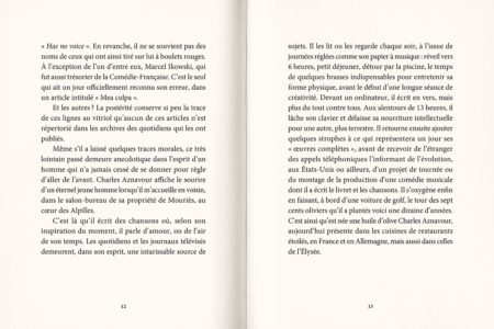 Pages intérieures de l'ouvrage Charles Aznavour - Jacques Pessis, dialogue inachevé
